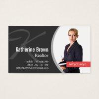 Modern Professional Realtor Monogram Photo Business Card