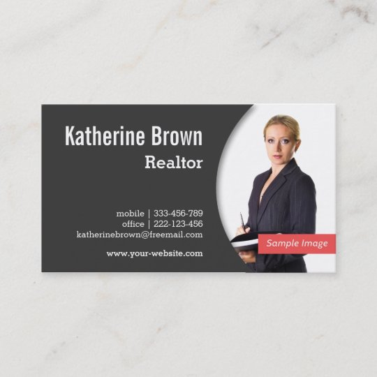 Modern Professional Realtor Real Estate Photo Business Card