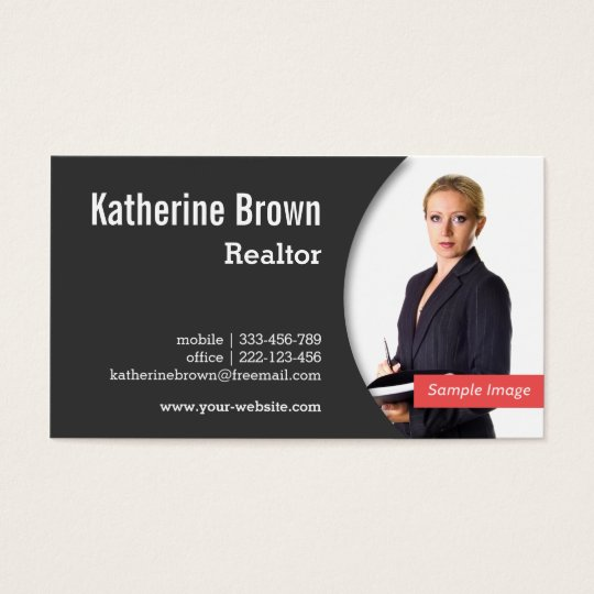 Modern Professional Realtor Real Estate Photo Business Card - Real estate business card template