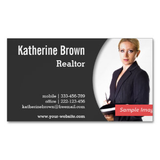 Modern, Professional, Realtor, Real Estate, Photo Magnetic Business Card