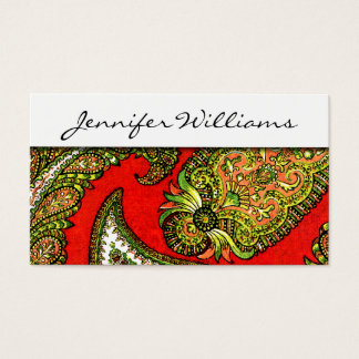 Modern Professional Red Paisley Business Cards