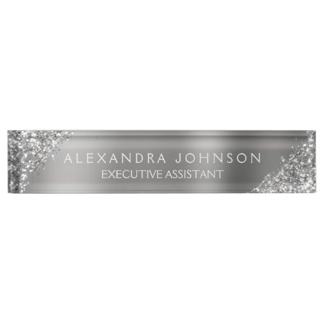 Modern Professional Silver Sparkle Glitter Desk Name Plate