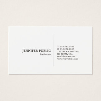 Modern Professional Simple Elegant White Plain Business Card