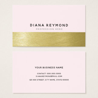 modern professional very light pink & faux gold business card