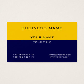 Modern Professional Yellow Navy Blue Business Business Card
