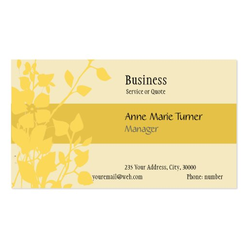 Modern Promotional Floral  Mustard Yellow Business Card Templates