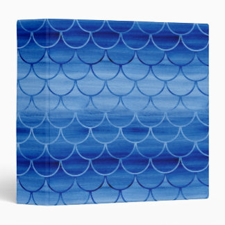 Modern Prussian Blue Painted Watercolor Scales 3 Ring Binder