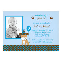 Modern Puppy Boy Birthday Invitations