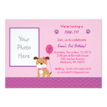 Modern Puppy Girl Birthday Invitations