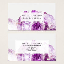 Modern purple agate amethyst stone business card