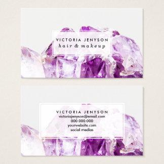 Modern purple agate amethyst stone business card