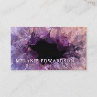 Modern purple amethyst gemstone geode mineral business card