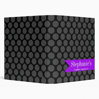 Modern Purple and Black Polka Dot Coupon Organizer Binder