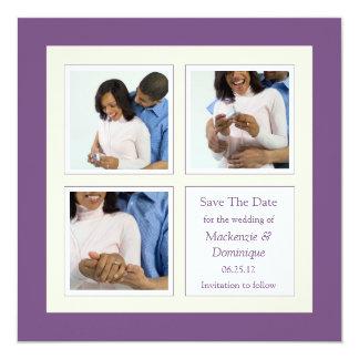"Modern Purple and Cream Photo Save The Date 5.25"" Square Invitation Card"