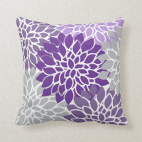 Modern Purple and Gray Floral Throw Pillow