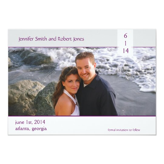 Modern Purple and Grey Photo Save the Date Card