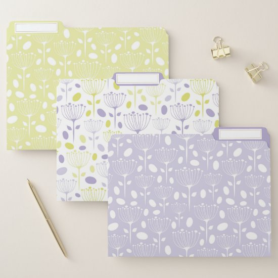 Modern Purple and Lime Floral File Folder