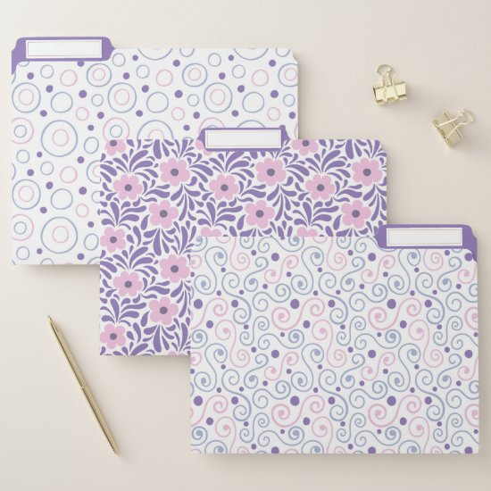 Modern Purple and Pink Retro Floral Swirls Circles File Folder