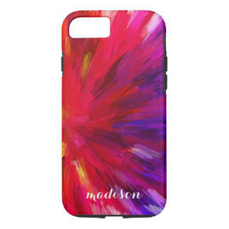 Modern Purple And Red Abstract Colorburst iPhone 8/7 Case