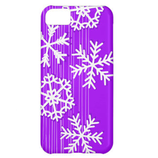 Modern purple and white Christmas snowflakes Case For iPhone 5C