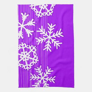 Modern purple and white Christmas snowflakes Kitchen Towel