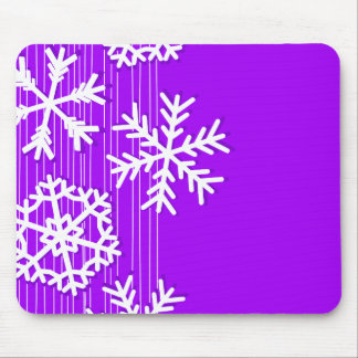 Modern purple and white Christmas snowflakes Mouse Pad