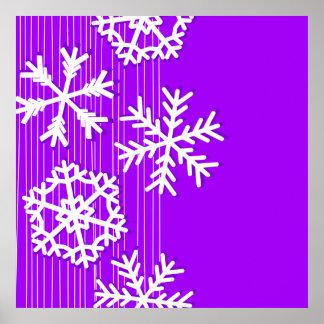 Modern purple and white Christmas snowflakes Print