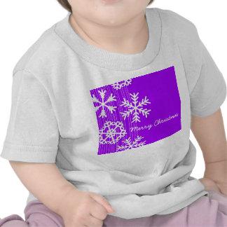 Modern purple and white Christmas snowflakes Tshirts