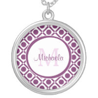 Modern Purple and White Geometric Monogrammed Name Silver Plated Necklace