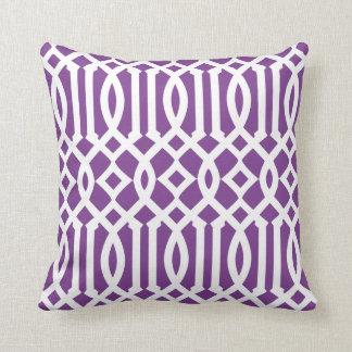 Modern Purple and White Imperial Trellis Throw Pillow