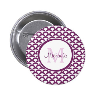 Modern Purple and White Scallops Monogram and Name Button