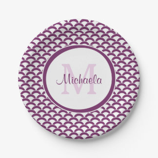 Modern Purple and White Scallops Monogram and Name Paper Plate
