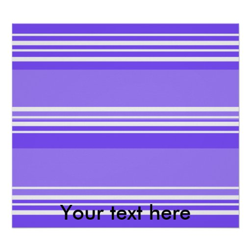 Modern purple and white stripes poster