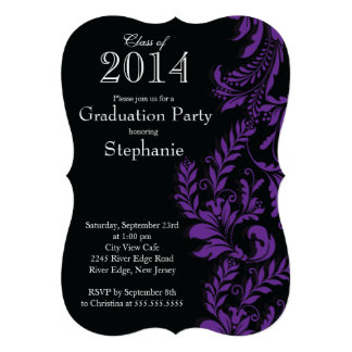 Modern Purple Black Class of 2014 Graduation Party Personalized Invite