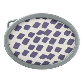 Modern Purple Blue Abstract Squares Wild Animal Oval Belt Buckles