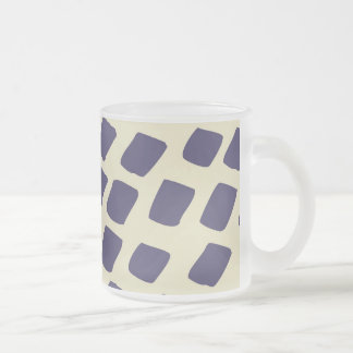 Modern Purple Blue Abstract Squares Wild Animal Frosted Glass Coffee Mug