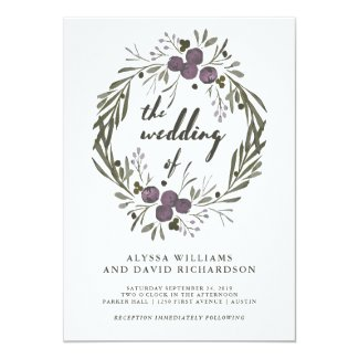 Modern Purple Botanical Wedding Card