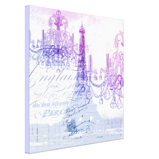 modern purple chandelier paris eiffel tower canvas print