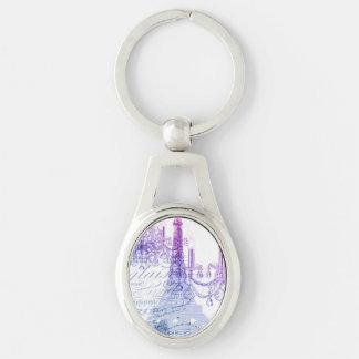 modern purple chandelier paris eiffel tower Silver-Colored oval metal keychain