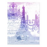 modern purple chandelier paris eiffel tower postcard