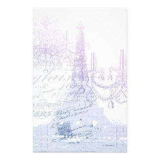 modern purple chandelier paris eiffel tower stationery