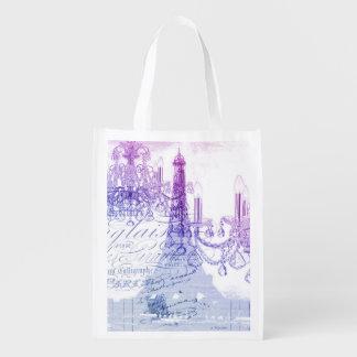 modern purple chandelier paris eiffel tower market tote