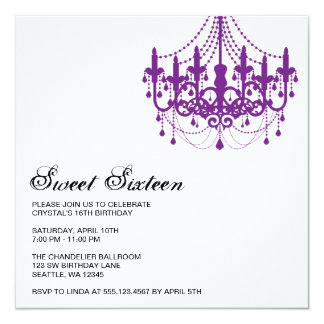 Modern Purple Chandelier Sweet Sixteen Birthday Card