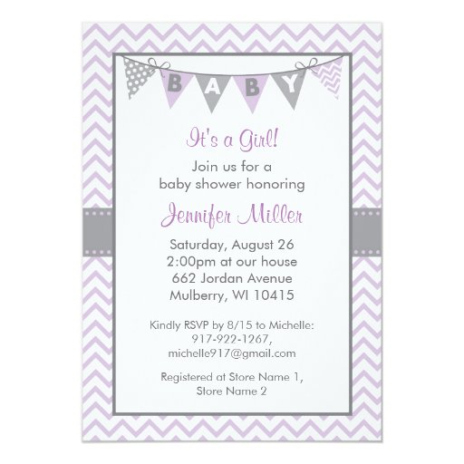 Modern Purple Chevron Baby Shower Invitations