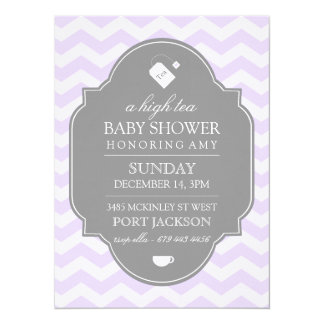 "Modern Purple Chevron High Tea Baby Shower Invite 5.5"" X 7.5"" Invitation Card"