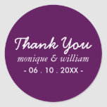 Modern Purple Cursive Thank You Wedding Classic Round Sticker