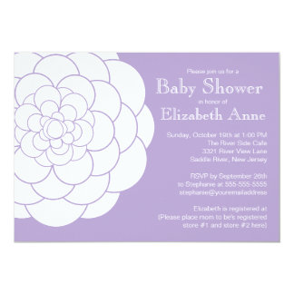 "Modern Purple Dahlia Bloom Floral Girl Baby Shower 5"" X 7"" Invitation Card"