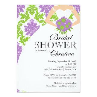 Modern Purple Damask Beautiful Bride Bridal Shower Card