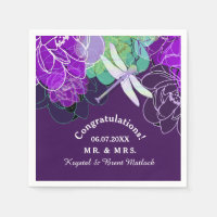 Modern Purple Dragonfly Floral Paper Napkin