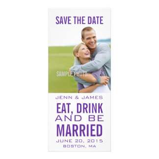 Modern Purple EAT DRINK BE MARRIED Save the Date Announcements